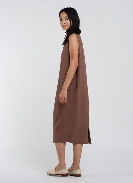 KAAREM Dill High Collar Dress - Cacao Brown