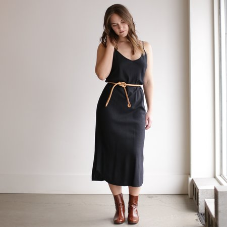 Ozma Silk Noil Slipdress - Black