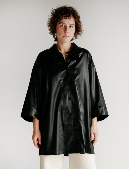 Lemaire Lacquered Satin Maxi Shirt - Black