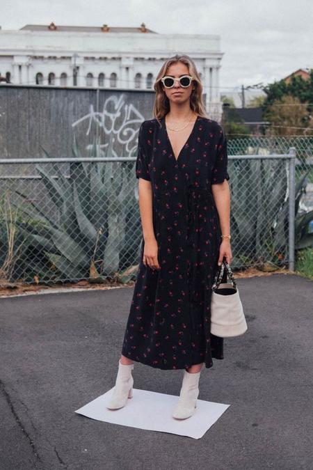 Caron Callahan Cupro Mica Dress - Black Floral