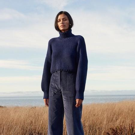 First Rite Crop Turtleneck Sweater - Lapis