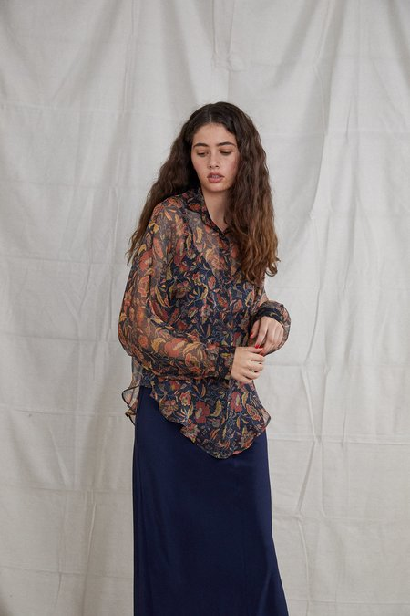 Ovna Ovich Silk Georgette Segdah Shirt - Poppy