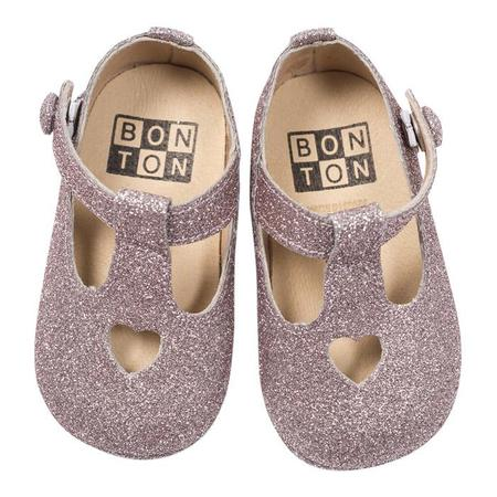 Kids Bonton Baby Shoes With Heart - Silver Glitter