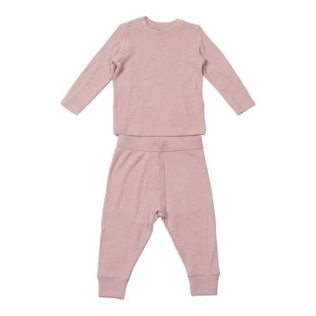 KIDS Bonton Baby Two Piece Set Long Sleeved Shirt And Leggings - Marshmallow Pink