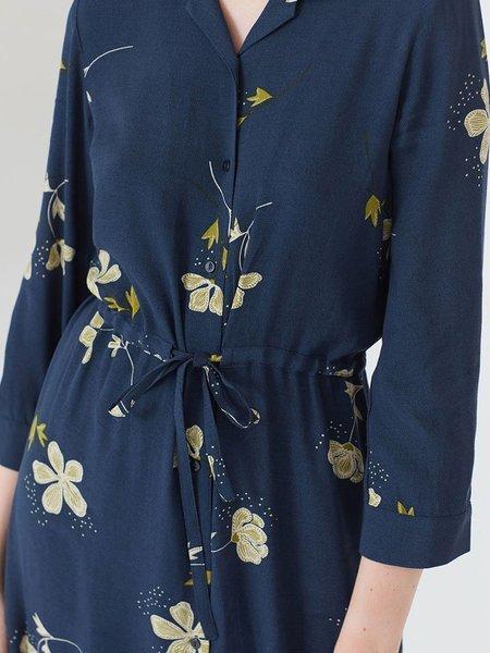 Nice Things Poppies Print Shirt Dress - Navy