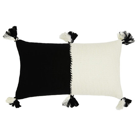 Archive New York Antigua Pillow - Black/Natural White Colorblocked