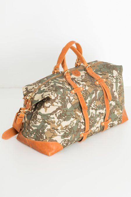 Il Bisonte Canvas/Cowhide Travel Bag - Army