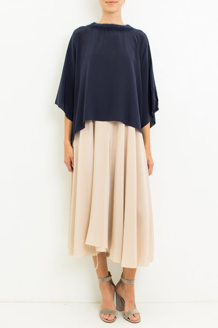Louiza Babouryan Poncho Top - Midnight