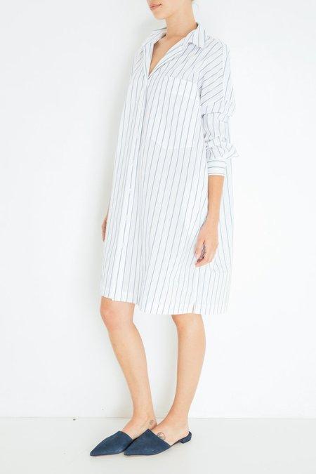 Hache Stripe Shirt Dress - White/Blue Stripe