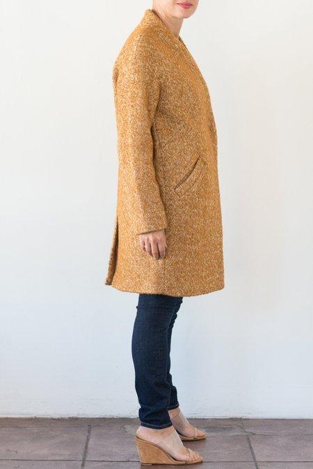 Pomandere Collarless Coat - Ochre