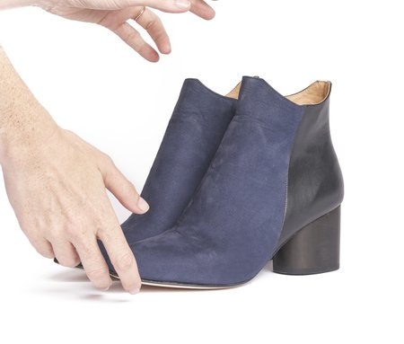 The Palatines Beo Geometric Topline Ankle Boot with Wood Heel - Navy