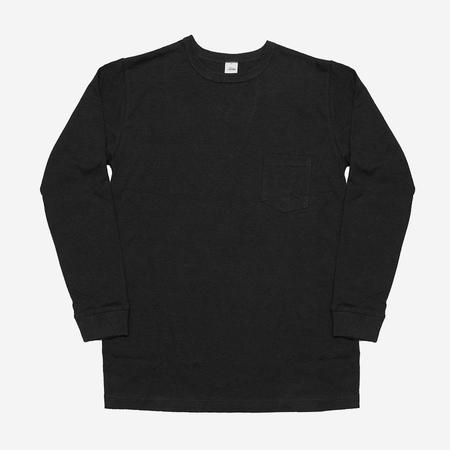 3Sixteen Long Sleeve Heavyweight Pocket T-Shirt - Black