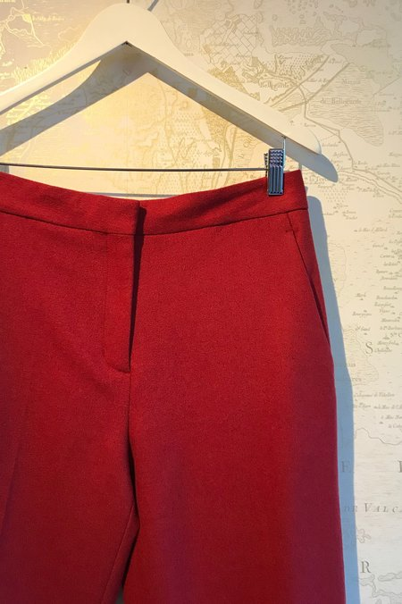 Rag & Bone Poppy Wool Cropped Trouser - Red