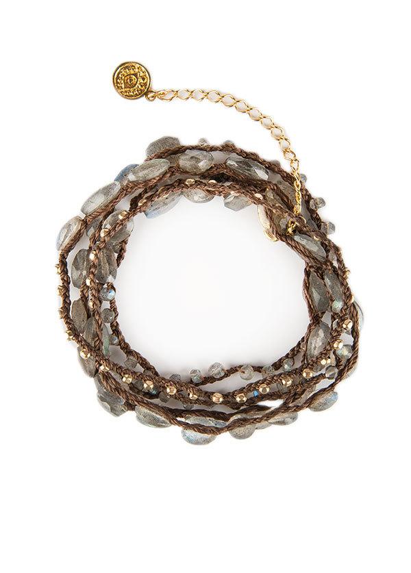 Blee Inara Semi Precious Beaded Wrap Bracelet