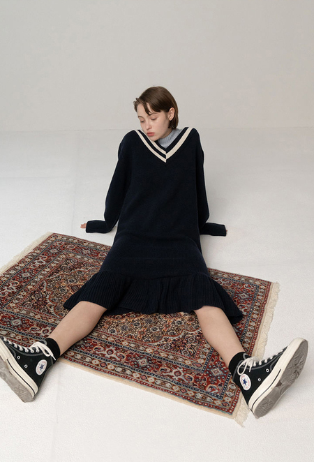 ROCKET x LUNCH KNIT DRESS - Navy