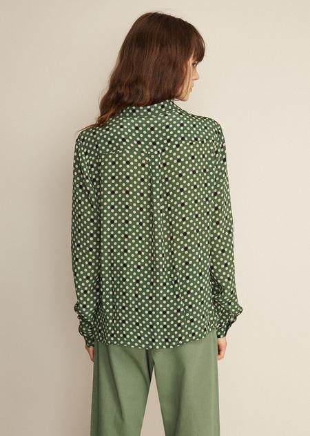 Caramel Classic Shirt - Forest Green Polka Dot
