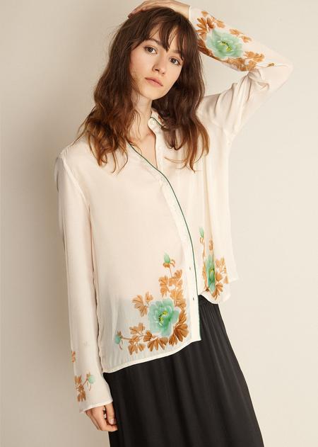 Caramel Watercolour Shirt - Cream