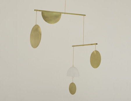 Circle and Line Mobile No. 13 - brass