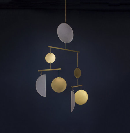 Circle and Line Mobile No. 19 - brass