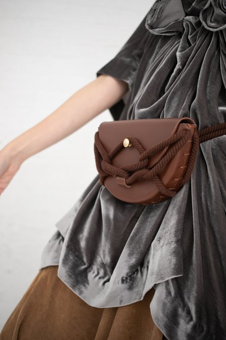 Eatable of Many Orders Monkey Pochette with Rigatoni Skinny Belt - Brown