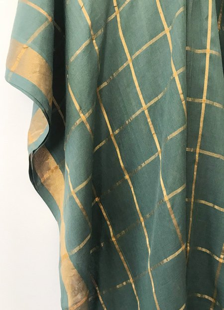 Two Grid Caftan - Olive Green/Gold