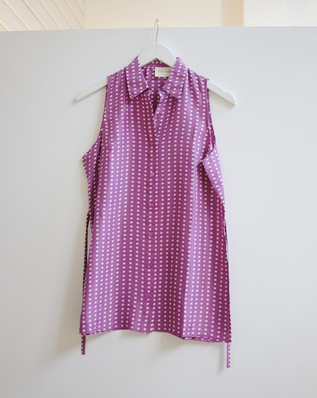 Hey Jude Vintage Silk Tie Top - Fuchsia