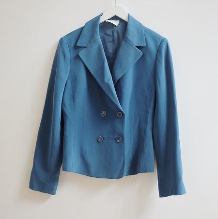 Hey Jude Vintage Brushed Silk Blazer - BLUE
