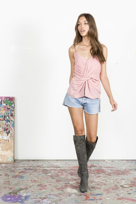 Edun Melange Gauze Twist Tank - Pink