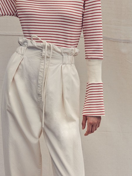 Bassike Cotton Pique High Waisted Pant - Natural