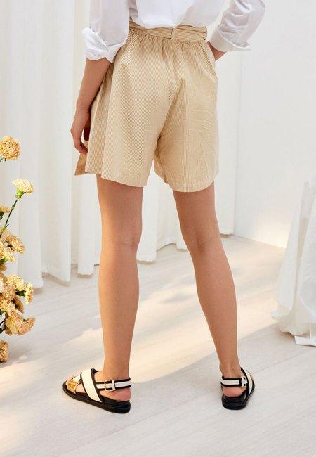 Kowtow Primary Shorts - Mustard Stripe