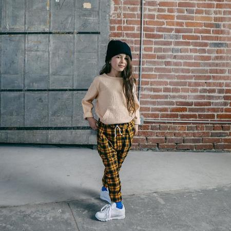 Kids Nico Nico Child Clash Pleated Pants With Stirrups - Mustard Yellow Plaid