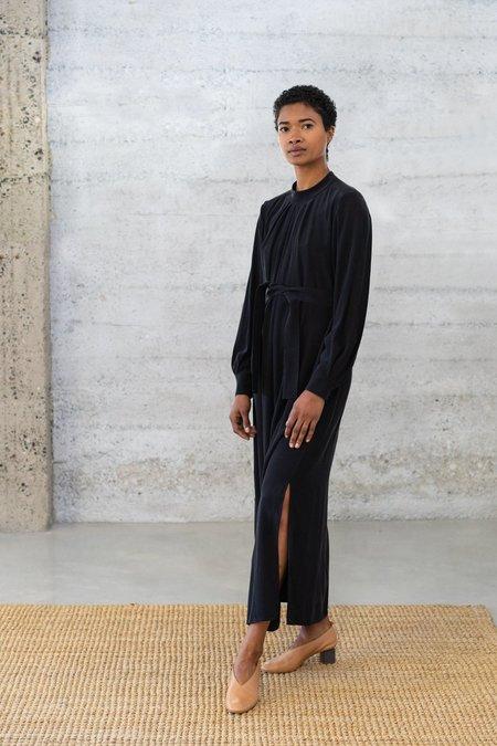 Waltz Silk Pleated-Neck Dress - Black