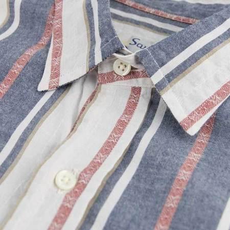 SANTIAGO SHIRT CO. Brick Jacquard Stripe - Blue
