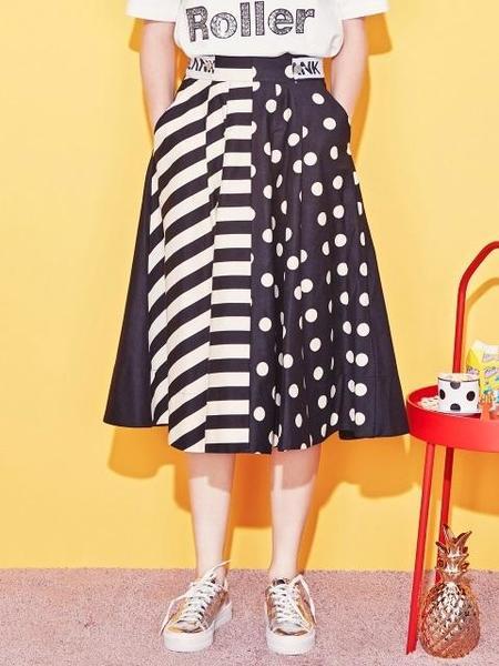 Blank Dot Mix Flared Skirt - Black