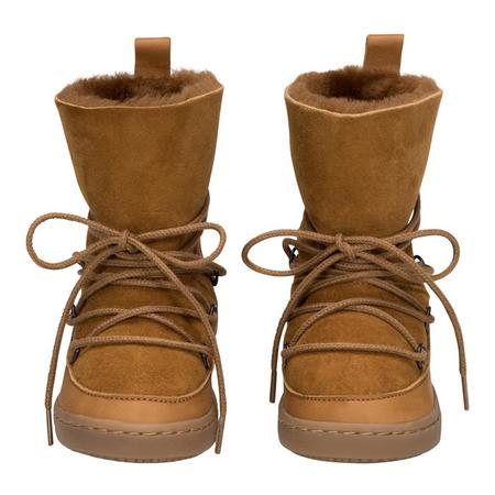 KIDS Birds Of Nature Baby And Child Moon Boots With Fur Lining - Pine Brown