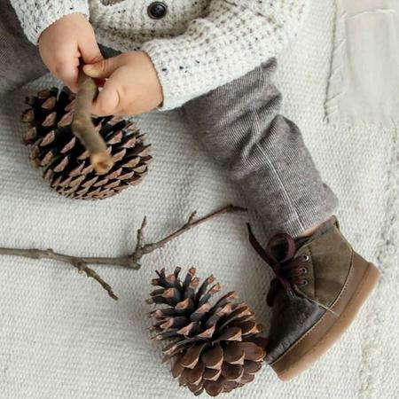 Kids Birds Of Nature Baby And Child Winter Boots With Fur Lining - Moss Green
