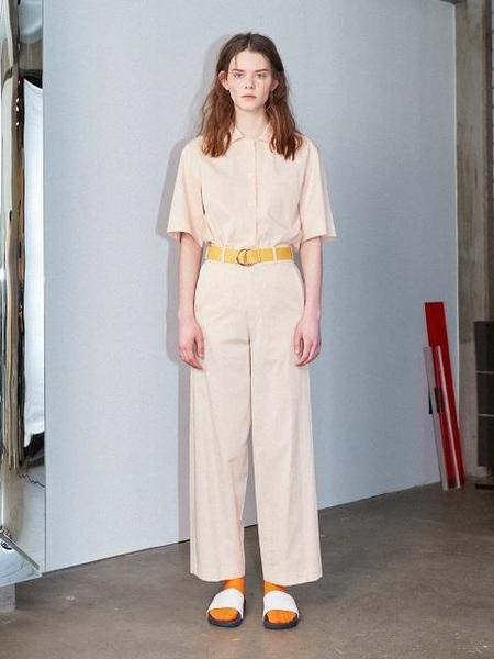 Greyyang Half Sleeve Slit Shirt - Pearl Beige