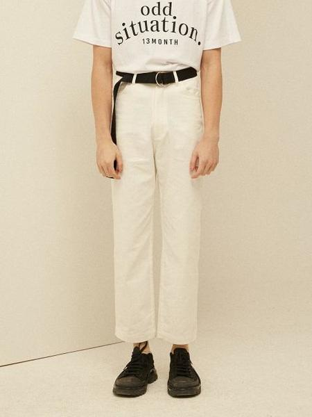 Unisex 13MONTH Wide Crop Cotton Pants - Ivory
