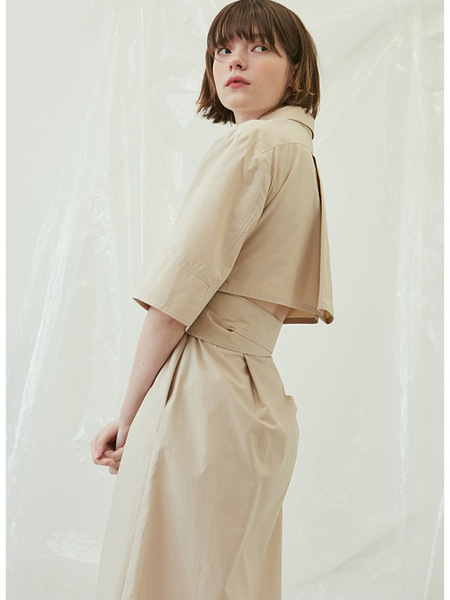 Another A Open Back Shirt Dress - Beige