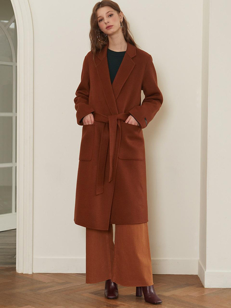 LOOKAST Notched Lapel Handmade Coat - Brown