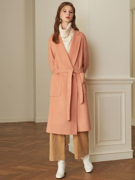 LOOKAST Notched Lapel Handmade Coat - Pink