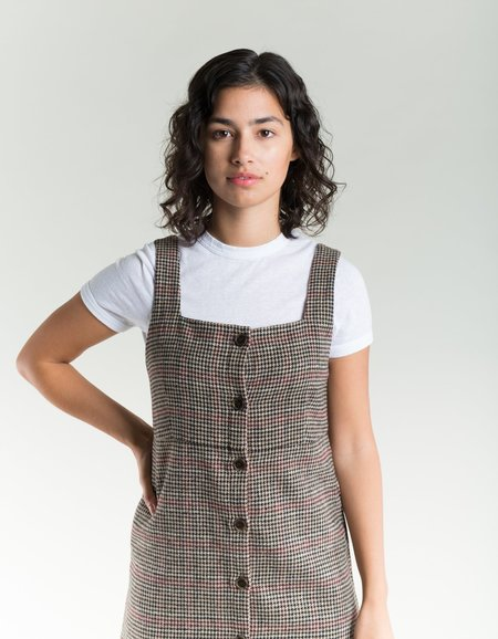 Side Party Lotte Houndstooth Buttoned Mini Dress - Grey Dark/Red