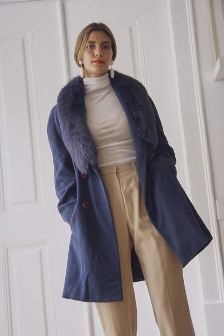 Bird On A Wire Vintage Gianni Versace Wool Fur Trim Coat - Blue
