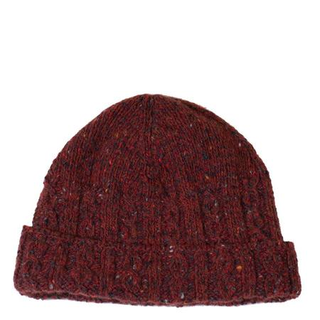Inis Meáin Donegal Cable Knit Hat - Burgundy