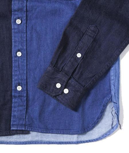 Japan Blue Crazy Panel Button Up Shirt - Indigo