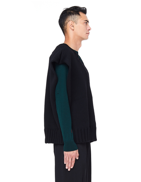 Yang Li Chunky Knit V-neck Wool Vest - Black