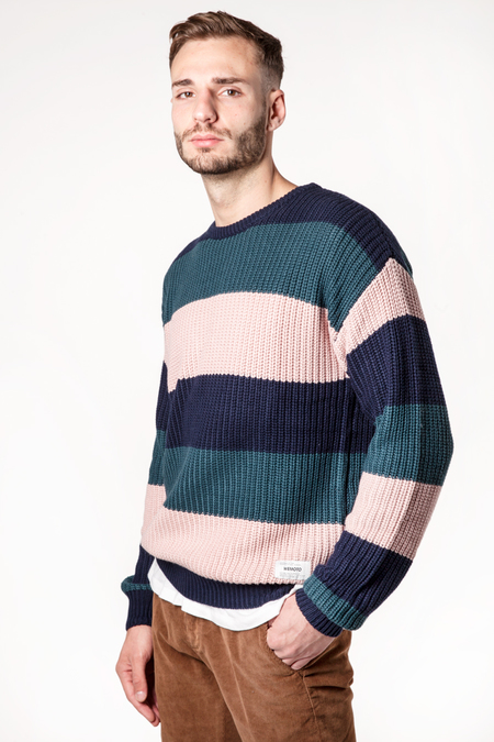 Wemoto Colten Stripe Sweater - Atlantic Green