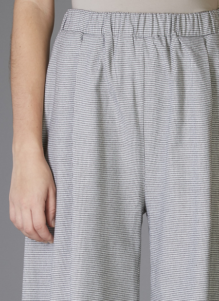 Grei. Wide Crop  Pant - Grey Houndstooth