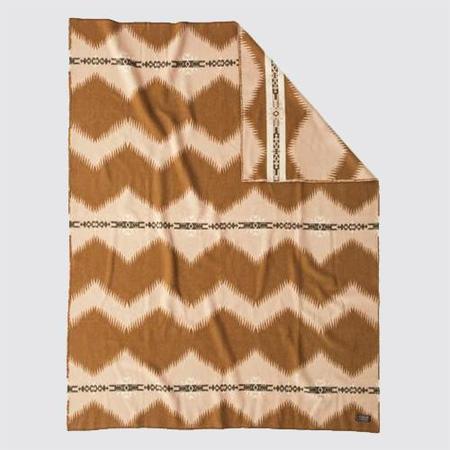 BasShu Wool Blanket - Light Brown Jacquard