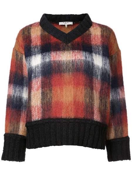 Sea Maryam Vneck Mohair Sweater - Multi Plaid